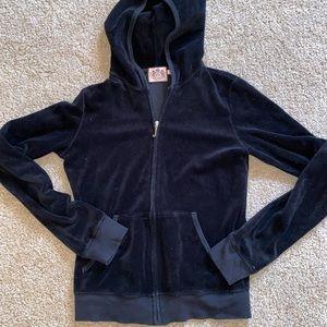 Juicy black velvet zip up kids